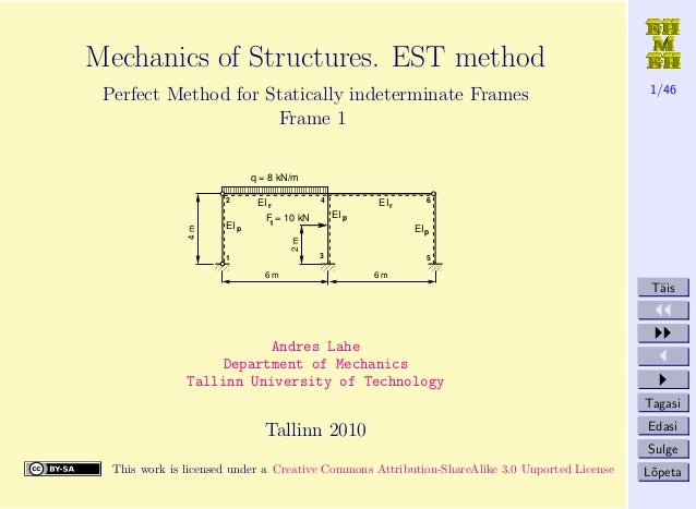1/46 T¨ais Tagasi Edasi Sulge L˜opeta Mechanics of Structures. EST method Perfect Method for Statically indeterminate Fram...
