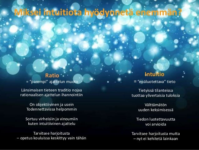 Intuitio voi tarkoittaa  erilaisia prosesseja, erilaista tietoa  Asiantuntijuus  Alitajunnan tietopankki  Hahmontunnistus ...