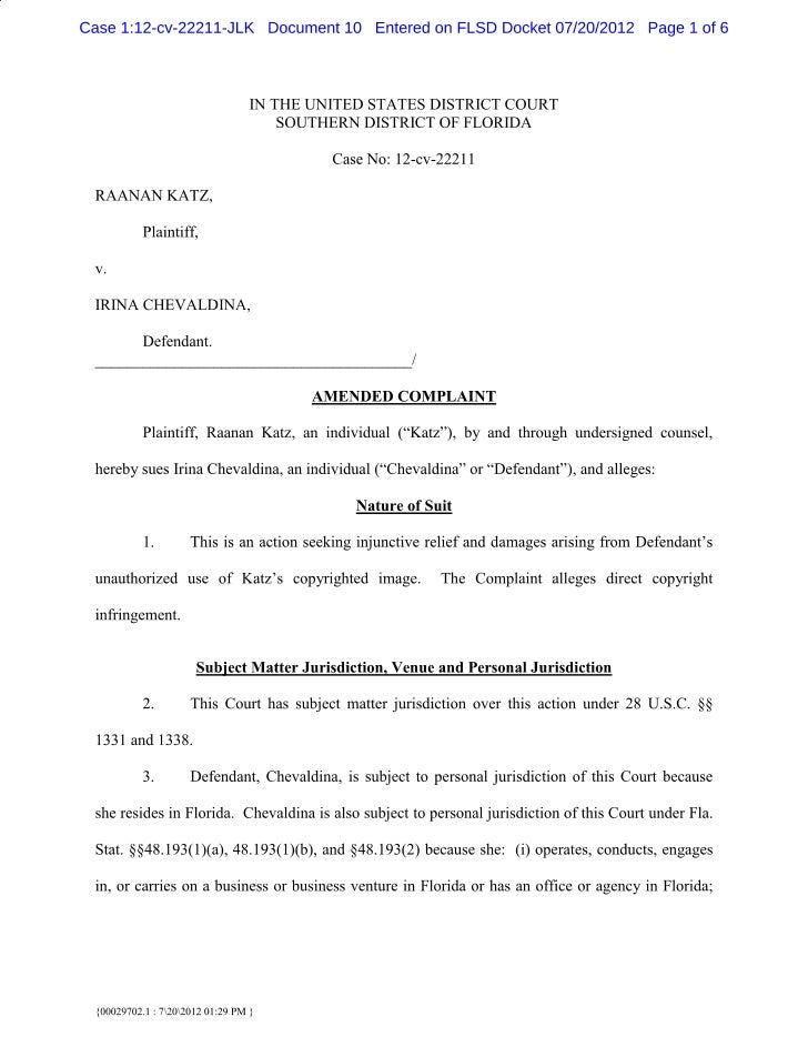 Raanan Katz Amended Copyright Complaint