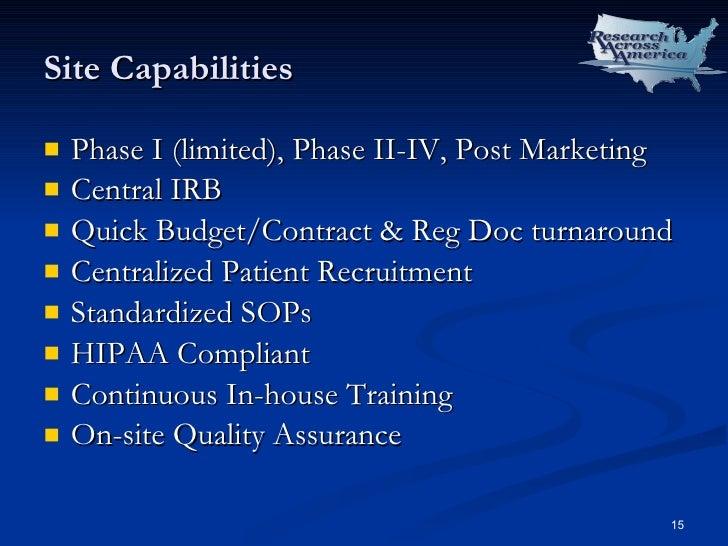 Site Capabilities <ul><li>Phase I (limited), Phase II-IV, Post Marketing </li></ul><ul><li>Central IRB </li></ul><ul><li>Q...