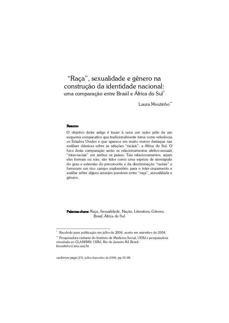"""""""Raça"""", sexualidade e gênero na        construção da identidade nacional:       uma comparação entre Brasil e África do Su..."""