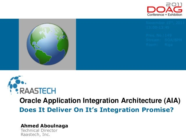 Ahmed Aboulnaga Technical Director Raastech, Inc. Does It Deliver On It's Integration Promise? Oracle Application Integrat...