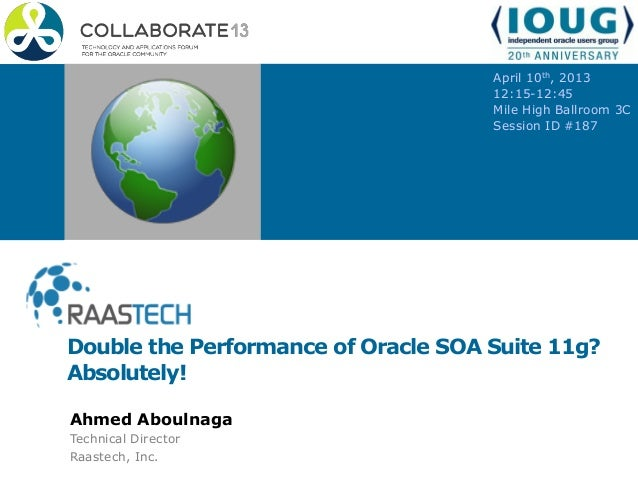 Double the Performance of Oracle SOA Suite 11g? Absolutely! April 10th, 2013 12:15-12:45 Mile High Ballroom 3C Session ID ...