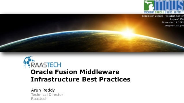 Arun Reddy Technical Director Raastech Oracle Fusion Middleware Infrastructure Best Practices Schoolcraft College – Vistat...