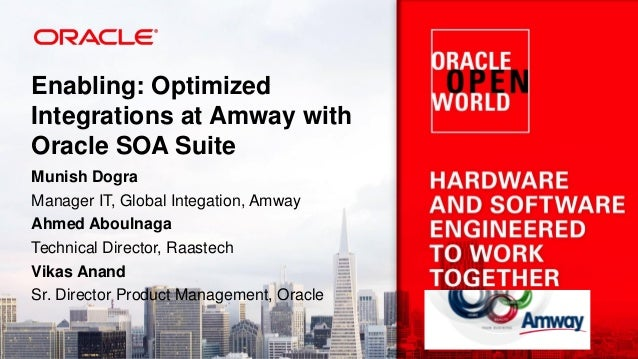 Enabling: Optimized Integrations at Amway with Oracle SOA Suite Munish Dogra Manager IT, Global Integation, Amway Ahmed Ab...