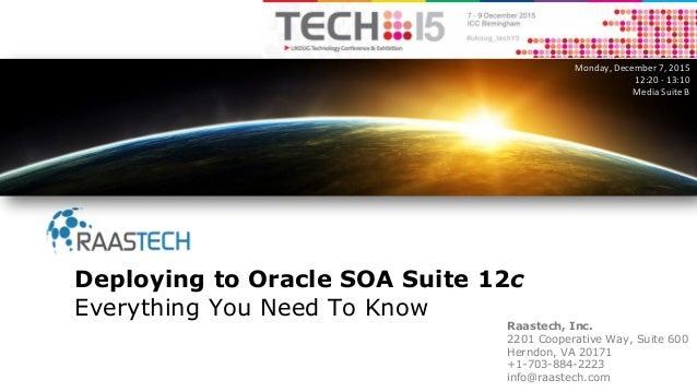 Raastech, Inc. 2201 Cooperative Way, Suite 600 Herndon, VA 20171 +1-703-884-2223 info@raastech.com Deploying to Oracle SOA...