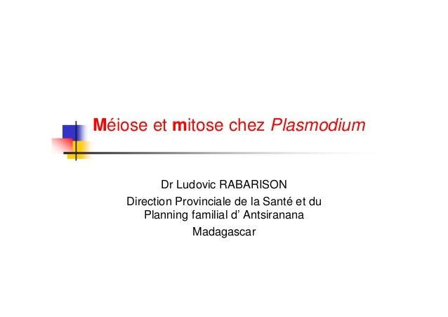 Méiose et mitose chez Plasmodium          Dr Ludovic RABARISON   Direction Provinciale de la Santé et du      Planning fam...