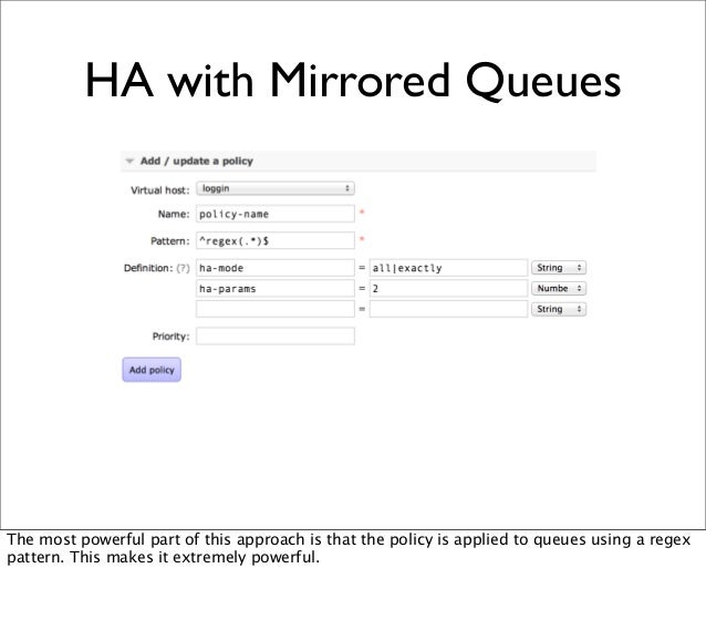 HA with Mirrored Queues The most powerful part of this approach is that the policy is applied to queues using a regex patt...