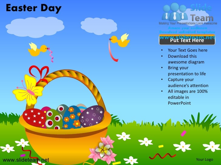 Rabbit Happy Easter Day Powerpoint Templates., Presentation Templates