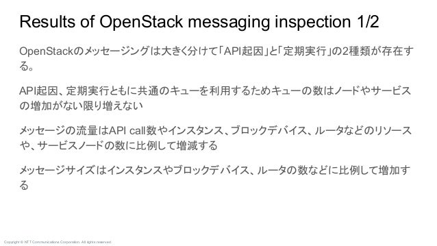 Copyright © NTT Communications Corporation. All rights reserved. Results of OpenStack messaging inspection 1/2 OpenStackのメ...