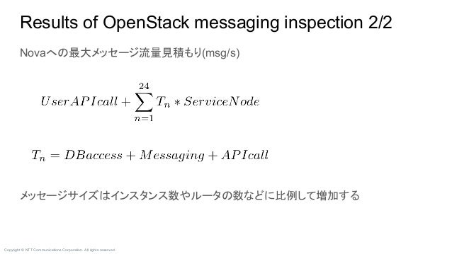 Copyright © NTT Communications Corporation. All rights reserved. Results of OpenStack messaging inspection 2/2 Novaへの最大メッセ...