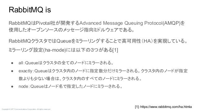 Copyright © NTT Communications Corporation. All rights reserved. RabbitMQはPivotal社が開発するAdvanced Message Queuing Protocol(A...