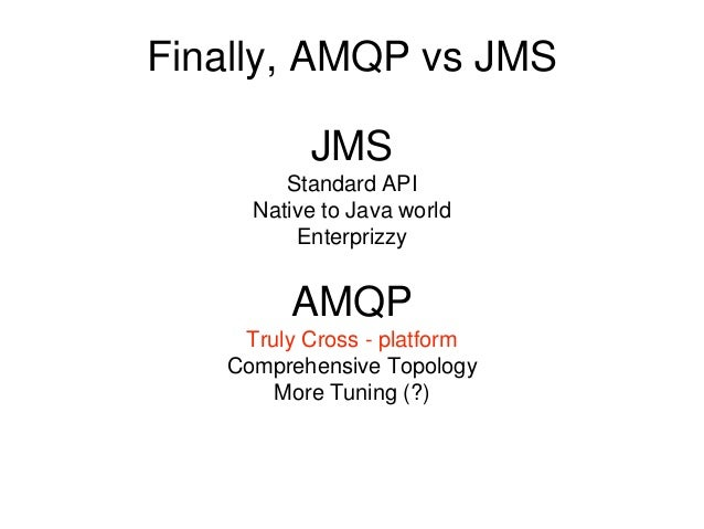 Finally, AMQP vs JMS JMS Standard API Native to Java world Enterprizzy AMQP Truly Cross - platform Comprehensive Topology ...