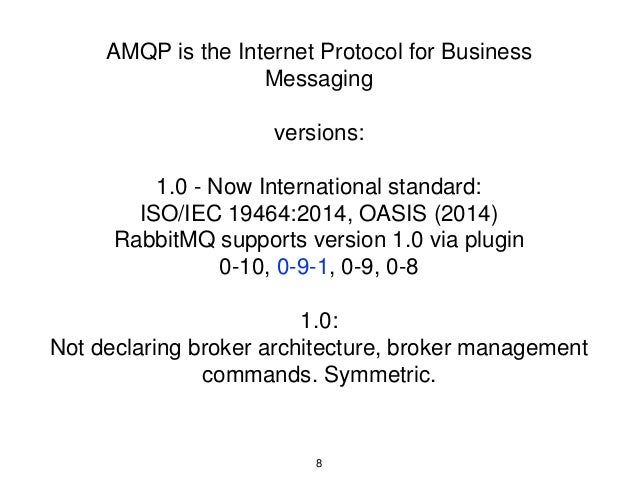 AMQP is the Internet Protocol for Business Messaging versions: 1.0 - Now International standard: ISO/IEC 19464:2014, OASIS...