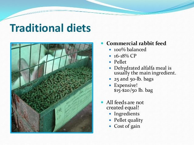Traditional diets                     Commercial rabbit feed                        100% balanced                       ...