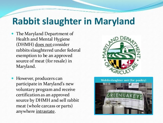 Rabbit slaughter in Maryland The Maryland Department of  Health and Mental Hygiene  (DHMH) does not consider  rabbits sla...