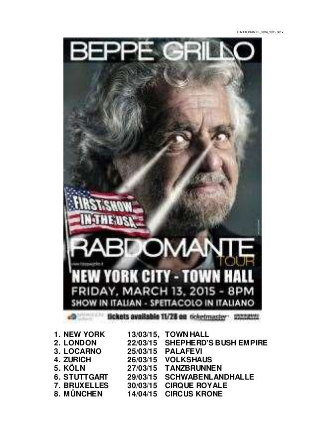 RABDOMANTE_2014_2015.docx 1. NEW YORK 13/03/15, TOWN HALL