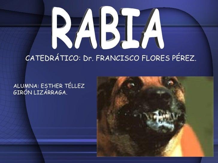 RABIA CATEDRÁTICO: Dr. FRANCISCO FLORES PÉREZ. ALUMNA: ESTHER TÉLLEZ GIRÓN LIZÁRRAGA.