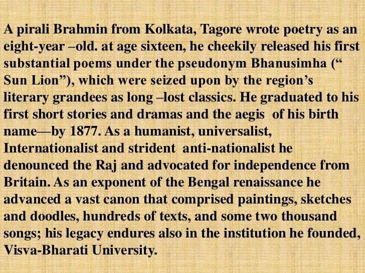 write a biography on rabindranath tagore short