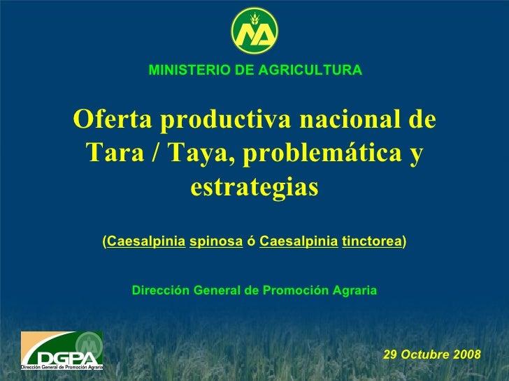 Oferta productiva nacional de Tara / Taya, problemática y estrategias Dirección General de Promoción Agraria 29 Octubre  2...