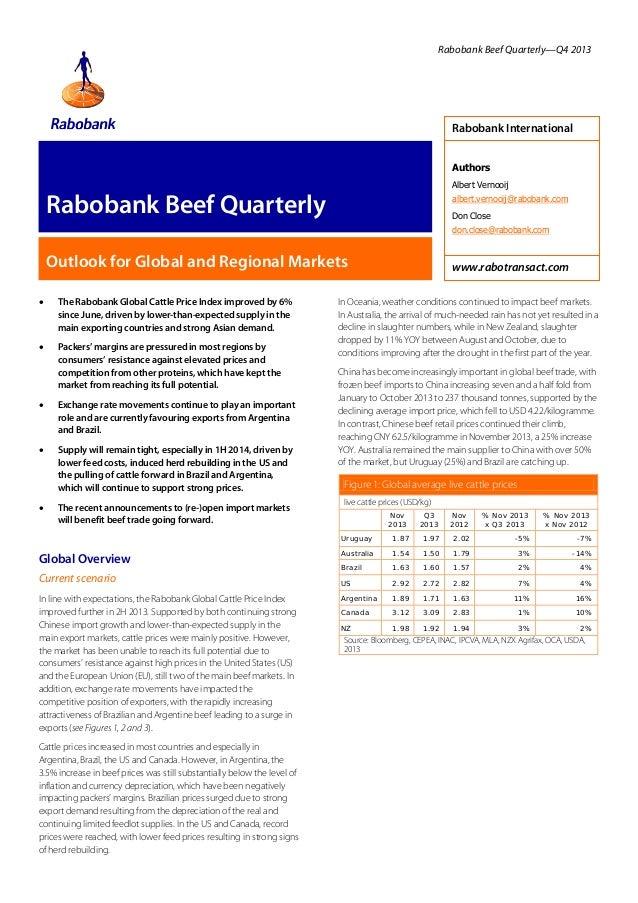 Rabobank Beef Quarterly—Q4 2013  Rabobank International Authors Albert Vernooij  Rabobank Beef Quarterly  albert.vernooij@...