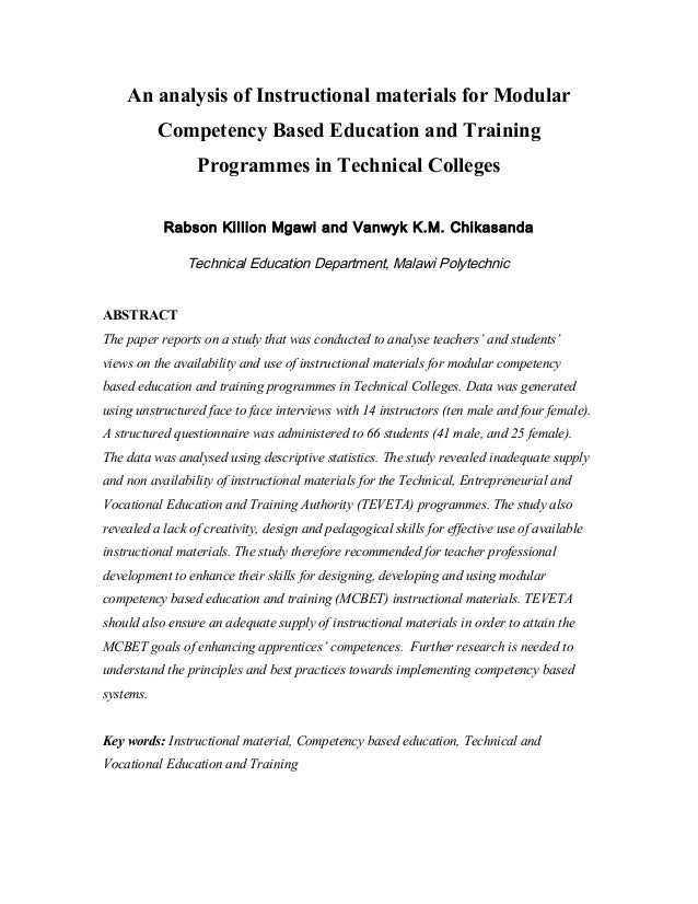 An analysis of Instructional materials for Modular Competency Based Education and Training Programmes in Technical College...