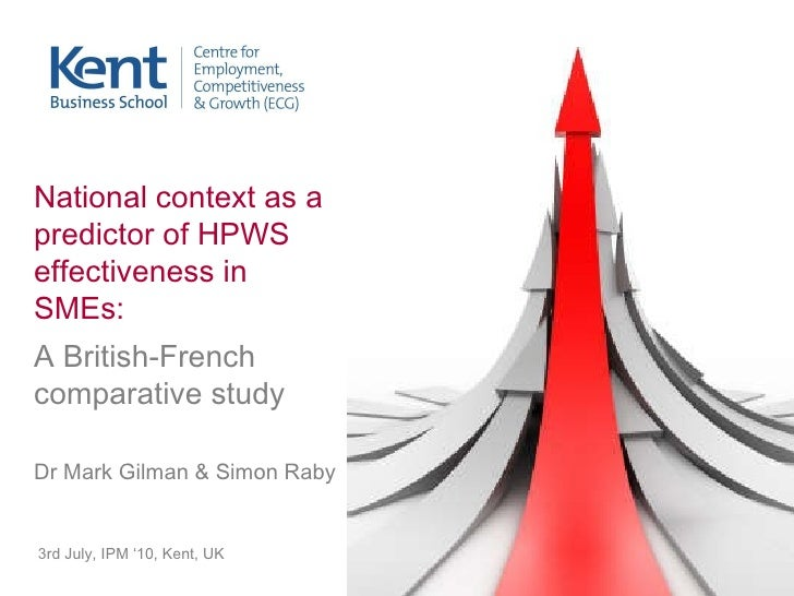 3rd July, IPM '10, Kent, UK National context as a predictor of HPWS effectiveness in SMEs:  A British-French comparative s...