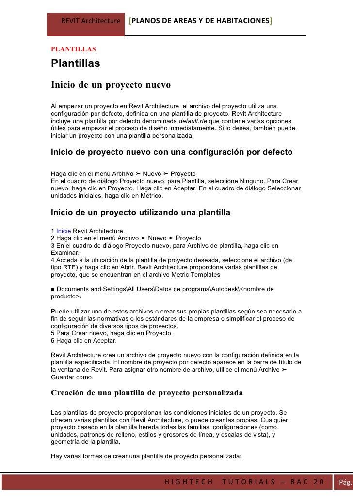 REVIT Architecture       [PLANOS DE AREAS Y DE HABITACIONES]   PLANTILLAS  Plantillas Inicio de un proyecto nuevo  Al empe...