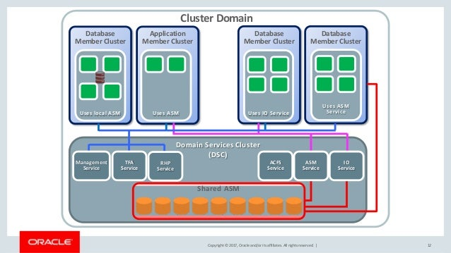 Copyright © 2017, Oracle and/or its affiliates. All rights reserved. | 12 Cluster Domain Application Member Cluster Uses A...