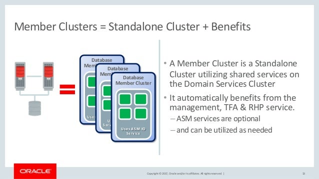 Copyright © 2017, Oracle and/or its affiliates. All rights reserved. | • A Member Cluster is a Standalone Cluster utilizin...