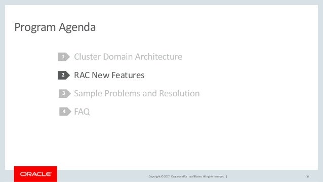 Copyright © 2017, Oracle and/or its affiliates. All rights reserved. | Program Agenda RAC New Features 1 2 16 3 4