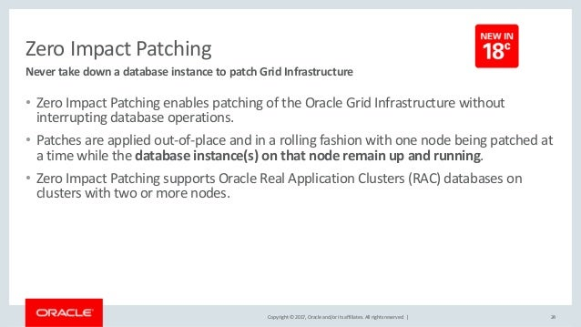 Copyright © 2017, Oracle and/or its affiliates. All rights reserved. | Zero Impact Patching • Zero Impact Patching enables...