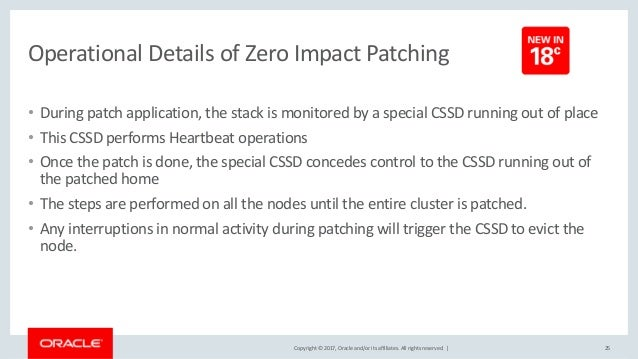 Copyright © 2017, Oracle and/or its affiliates. All rights reserved. | Operational Details of Zero Impact Patching • Durin...