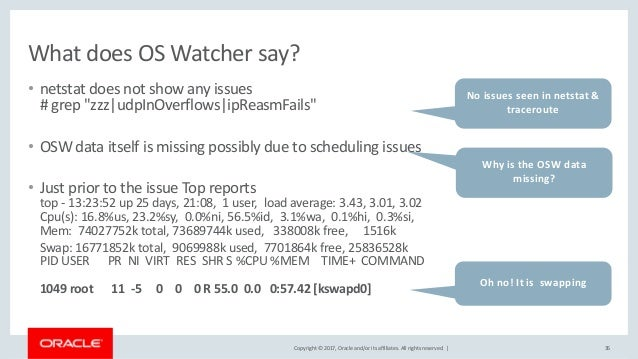 Copyright © 2017, Oracle and/or its affiliates. All rights reserved. | What does OS Watcher say? • netstat does not show a...