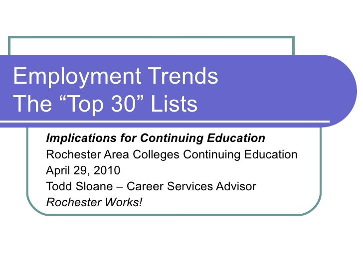 """Employment Trends The """"Top 30"""" Lists Implications for Continuing Education Rochester Area Colleges Continuing Education Ap..."""