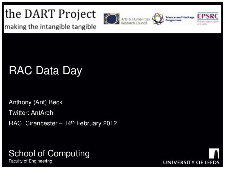 RAC Data DayAnthony (Ant) BeckTwitter: AntArchRAC, Cirencester – 14th February 2012School of ComputingFaculty of Engineering