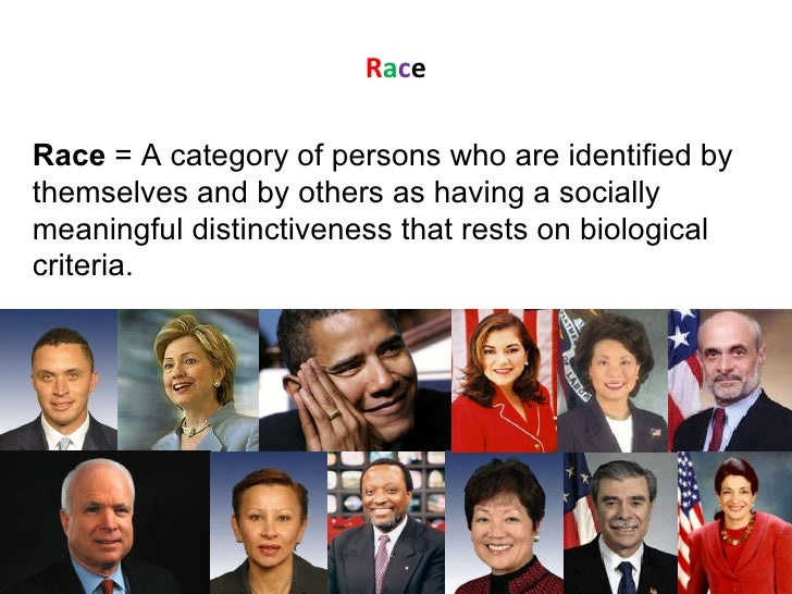 R a c e Race  = A category of persons who are identified by themselves and by others as having a socially meaningful disti...
