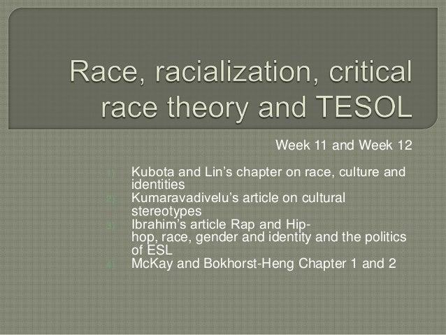 Week 11 and Week 121)   Kubota and Lin's chapter on race, culture and     identities2)   Kumaravadivelu's article on cultu...