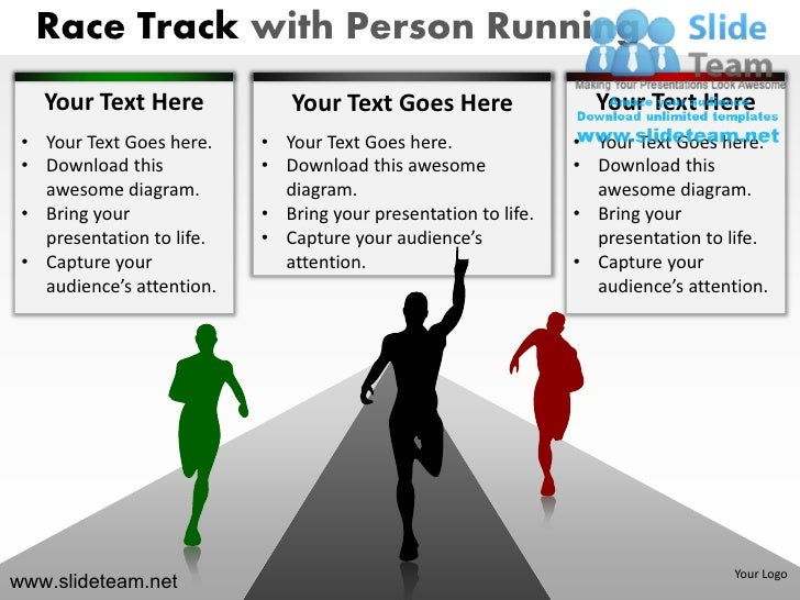 Race track with person running business race winner powerpoint ppt te race toneelgroepblik Images
