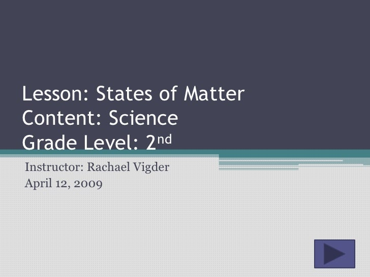 Lesson: States of Matter Content: Science Grade Level: 2nd Instructor: Rachael Vigder April 12, 2009