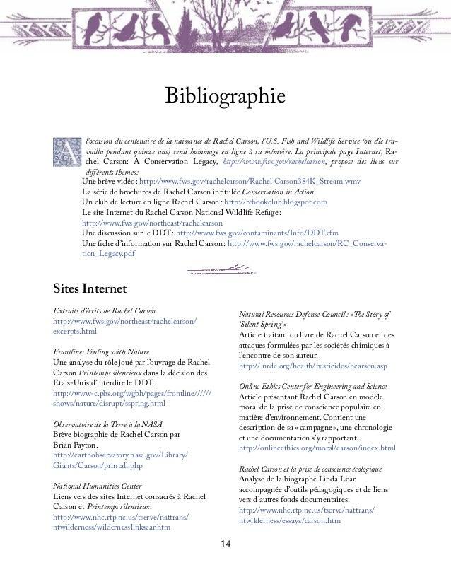 15RachelCarson.orgSite Internet consacré à la vie et la postérité deRachel Carson, conçu par la biographe LindaLear. Conti...