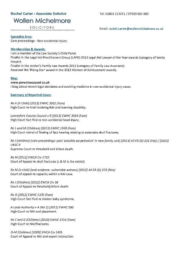Rachel carter bio & cases march 2014