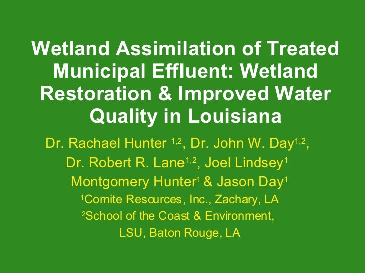 Wetland Assimilation of Treated Municipal Effluent: Wetland Restoration & Improved Water Quality in Louisiana Dr. Rachael ...