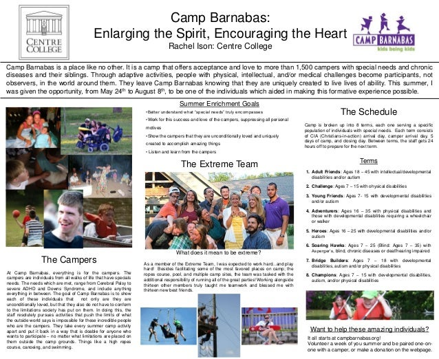 Camp Barnabas: Enlarging the Spirit, Encouraging the Heart Rachel Ison: Centre College Camp Barnabas is a place like no ot...