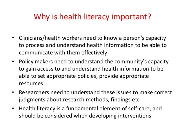 health literacy 3 essay Online essay writing service question please address/answer these questions as the content of my assignment: 1 your assessment of the nurse's role in improving the health literacy of patients.