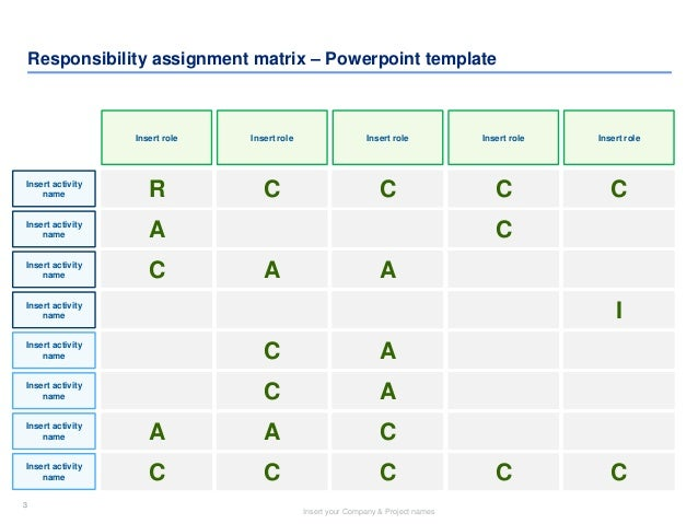 ... 3. 3 Insert Your Company U0026 Project Names 3 Responsibility Assignment  Matrix U2013 Powerpoint Template Insert Role ...  Project Roles And Responsibilities Matrix Templates