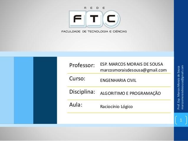 Prof.Esp.MarcosMoraisdeSousa marcosmoraisdesousa@gmail.com 1 Professor: ESP. MARCOS MORAIS DE SOUSA marcosmoraisdesousa@gm...