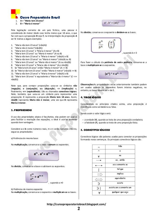 """Curso Preparatório Brasil http://cursopreparatoriobrasil.blogspot.com/ 2 1. A = """"Maria tem 23 anos"""" 2. B = """"Maria é menor""""..."""