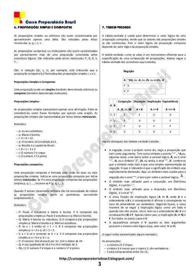 Curso Preparatório Brasil http://cursopreparatoriobrasil.blogspot.com/ 3 6. PROPOSIÇÕES SIMPLES E COMPOSTAS As proposições...