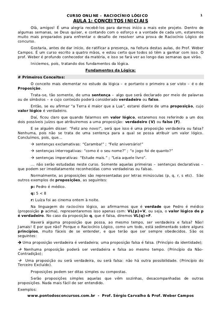 CURSO ONLINE – RACIOCÍNIO LÓGICO                                        1                              AULA 1: CONCEITOS I...